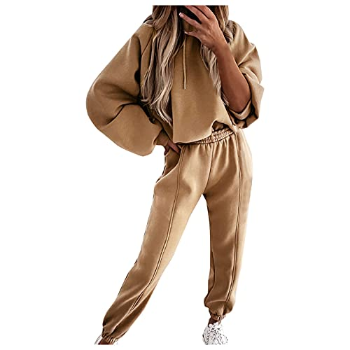 FeelFree+ Conjunto Chándal Mujer Completo Sudadera con Capucha y Pantalones Casual Elastico Manga Larga Color Puro Chandal Deportivo Trajes Casuales Jerséis Tops para Correr Yoga Gym