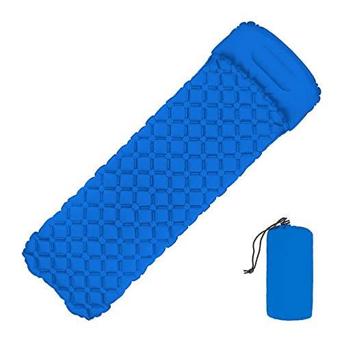 GUOYXUAN Outdoor Sleeping Pad Fast Filling Air Bag Camping Mat Inflatable Mattress With Pillow Life Rescue 550g Cushion Pad Picnic mat (Color : Blue)