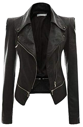5ALL Damen Frauen Revers Leder oldschool Jacke Motorrad lederjacke Motorrad Lederjacke Jacke Reißverschluss zwei tragen Leder