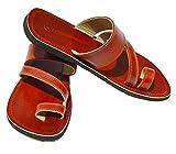 Handcrafted Luxury Sandales bibliques en cuir marron pour homme avec sangle à carreaux - Marron - marron, 45 EU