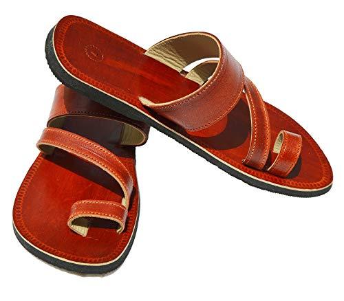 Handcrafted Luxury Sandalias de cuero marrón de los hombres sandalias bíblicas correa a cuadros Hippie indio zapatillas