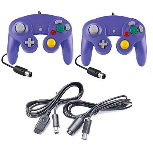 DARLINGTON & Sohns - Juego de 2 mandos morado + cable alargador para Nintendo Game Cube Controller Violeta Lila GC Extensión Nintendo Wii Cable