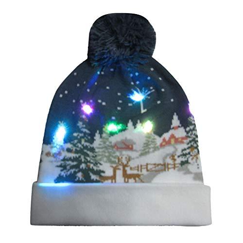 Auifor LED-verlichting gebreide lelijke gebreide jas feestdag Kerstmis beanie