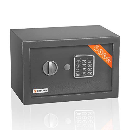Brihard Home Cassaforte Elettronica - Cassaforte a codice 20x31x20 cm - Scatola di sicurezza, tastierino digitale blocco e LED - Finitura antigraffio
