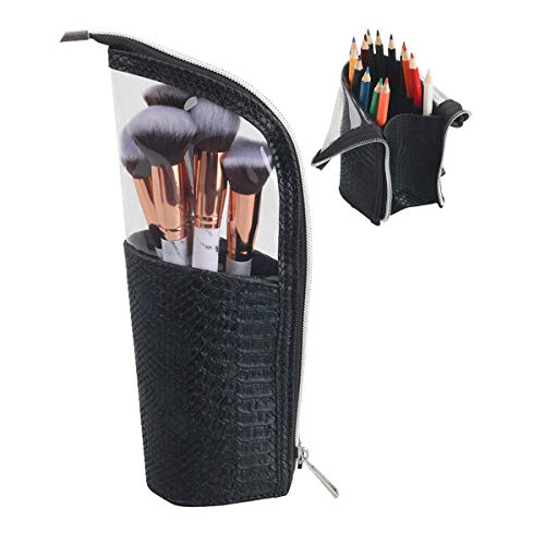 Stand-Up Makeup Brush Holder Travel Cosmetic Case Pencil Pen Organzier Bag (Black)