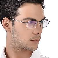 KLESIA 老眼鏡 累進変焦 遠近両用 眼鏡 記憶合金 ブルーライト UV400対応可 (度数:1.0, ゴールド)