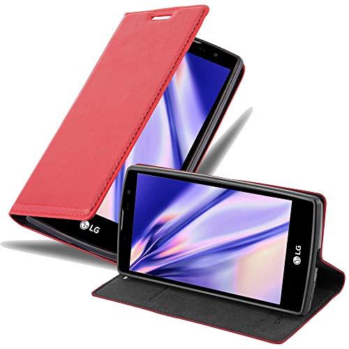 Cadorabo Hülle für LG G4C in Apfel ROT - Handyhülle mit Magnetverschluss, Standfunktion & Kartenfach - Hülle Cover Schutzhülle Etui Tasche Book Klapp Style