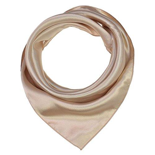 Super Soft Classic 50s 60s Plain Solid Satin Silk Feeling Square Scarf, 20 x 20 inches(50 X 50 cm), Champagne Gold