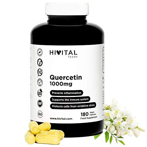 Quercetina 1000 mg. 180 cápsulas veganas para 3 meses de tratamiento. Extracto de flores de Saphora Japonica al 95% en Quercetina. Antioxidante celular y Antiinflamatorio Natural