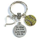 SOFTBALL Keychain, Do What You Love - Love What You Do Encouragement Gift, SENIOR Night Softball...
