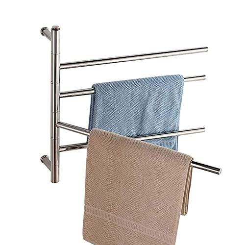 Radiador calentador de riel de toalla con calefacción, calentador de toallas eléctrico montado en la pared para ambas habitaciones, 180 \u0026 deg; Toallero eléctrico giratorio de 4 barras, acero inox
