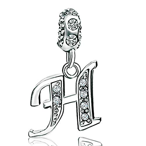 KunBead Alphabet Initial H Letter Charms for Bracelets Big Sis Lil Sis Sister Crystal Beads Birthday Charms