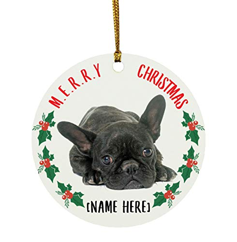 Lovesout Funny Personalized Name French Bulldog Brindle Black Merry Christmas 2020 Circle Ornament