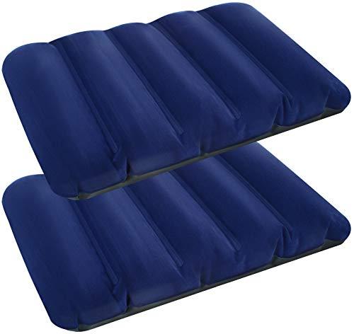COM-FOUR® 2x opblaasbaar kussen - comfortabel reiskussen voor auto-, trein- en busreizen - luchtkussenkussen in zakformaat (43x28x9cm - blauw)