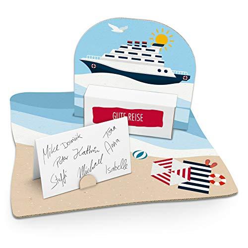 itenga Kreuzfahrtschiff Geldgeschenk Gastgeschenk Verpackung Reisekasse mit Bodenplatte, Geschenkkarte und Stickerbogen