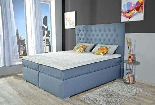 MeineMatratze24 Boxspringbett BELA | Direkt vom Hersteller | 7-Zonen Taschenfederkern-Matratze H2 / H3 / H4 und Topper Aufbau | Hotelbett Doppelbett | 100 x 200 cm
