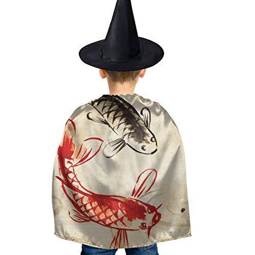 Amoyuan Unisex Kids Kerst Halloween Heks Mantel Met Hoed Koi Vis Japanse Vintage Wizard Cape Fancy Jurk