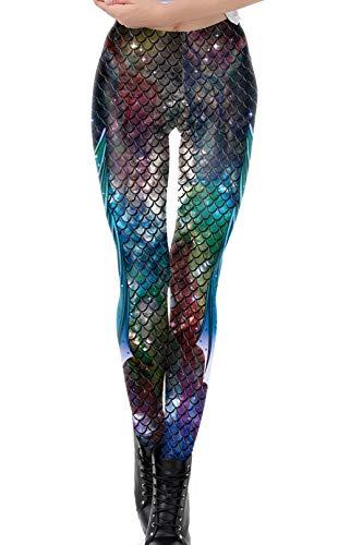 DELEY Damen Mädchen Kreative Mode Gestaltung Leggins Enge Hosen Stretch Strumpfhose Leggings Fisch-Skala-1