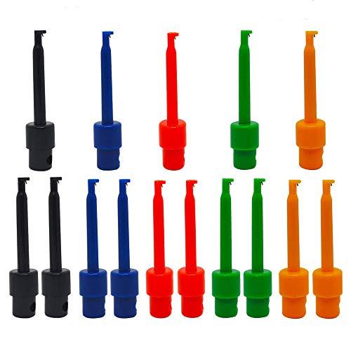 Senven 15pcs Mini Clip gancio di prova multimetro, rosso × 3 blu × 3 nero × 3 giallo × 3 verde × 3 per strumenti di riparazione, test probe hook, test gancio grabber, clip gancio ic.