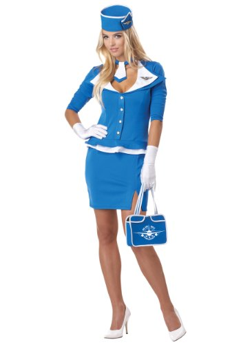 California Costumes Damen Retro Stewardess Kostüm - Blau - Medium