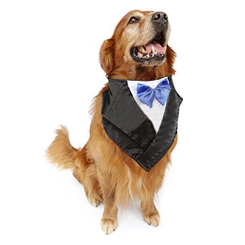 DELIFUR Smoking de la boda Large Dog Bandana Bufanda ajustable cat collar...