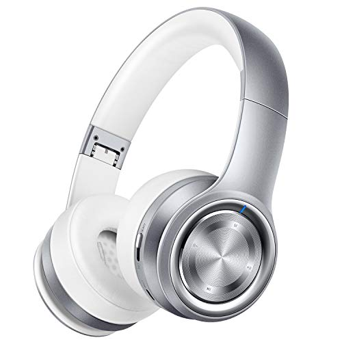 Picun P26 Bluetooth Headphones Over Ear 80H Playtime Hi-Fi Stereo Wireless Headphones Deep Bass Foldable Wired/Wireless/TF for Cell Phone/PC Bluetooth 5.0 Wireless Headset with Mic (Platinum Grey)