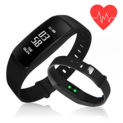 Kirlor Fitness Tracker, Blood Pressure Heart Rate Monitor Waterproof Activity Tracker,Bluetooth Wireless Smart Wristband Bracelet with Replacement Band for Android & iOS