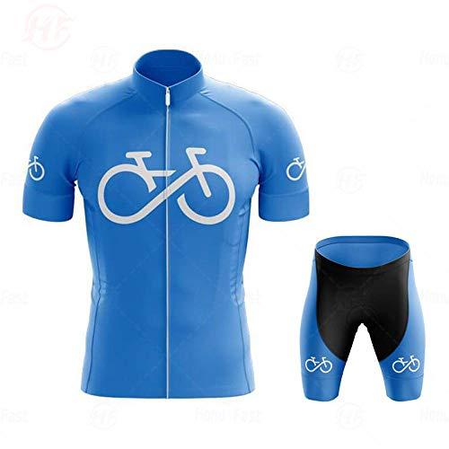 LLYY Maillot Ciclismo Hombre+Culotte Ciclismo Culote Bicicleta,Pro Bicycle Team Camiseta de Ciclismo de Manga Corta para Hombre Conjuntos de Ropa de Ciclismo de verano-A12_5XL
