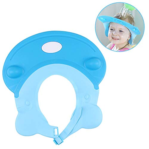 LeRan Adjustable Shampoo Hats Soft Silicone Bathing Protector Cap Suitable for Adults or Kids(bleu)