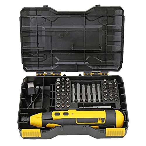 fregthf Destornillador eléctrico 4V Destornillador inalámbrico USB Taladro Recharagable carburo con Caja de Cable Amarillo