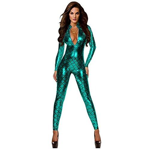 GGTBOUTIQUE Damen Metallic Fisch-Skala-Muster-Overall Playsuit Catsuit Bodysuit Clubwear Kostüm (Small, Grün)