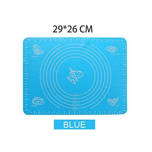 JINZE Alfombrilla para Hornear de Silicona de Varios tamaños Alfombrilla para Hornear Extra Grande para Masa enrollada Macaron Pizza, Azul 29x26