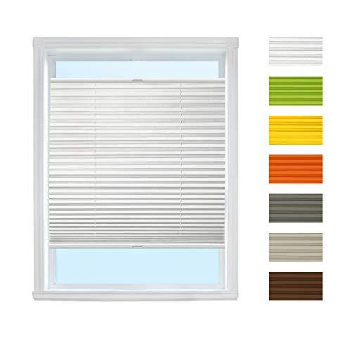 Plissee Rollo zum Anschrauben (Weiß, B45cm x H130cm) Rollo Jalousie, Halterungen zum Schrauben/Faltrollo Sichtschutz und Sonnenschutz für Fenster/Farbe & Größe wählbar