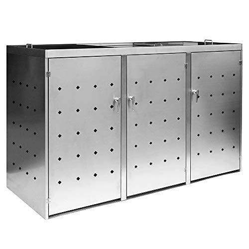 2er / 3er Mülltonnenbox Müllbox Mülltonnenverkleidung Edelstahl Schiebdach Abschließbar V2Aox, Ausführung:Für 3 Mülltonnen
