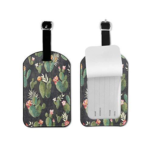 Etiqueta de equipaje vintage con diseño de cactus y flores de cactus de viaje etiqueta de identificación de cuero para maleta de equipaje para mujeres y hombres 1 pieza