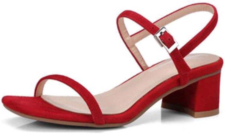 Eeayyygch Eeayyygch Eeayyygch Schuhe 5,5 cm rot, mittlere Ferse Sandal Heels, Sommer dick mit geschnallt Open-Toe Sexy Sandalen (Farbe   rot5.5cm, Größe   38 EU)  c1ac46