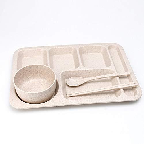 Paja de trigo Dividido placa de rejilla for adultos de Protección Ambiental con vajilla Rice Estudiante Tenedor Cuchara Tazón Vajilla Placa base del vajilla (Color : Beige)