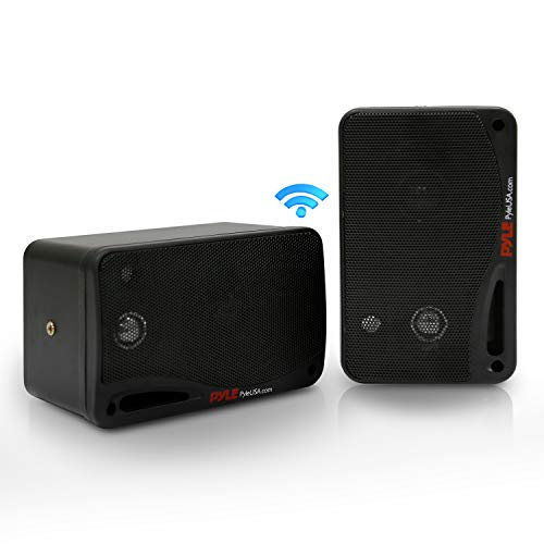 Outdoor Waterproof Wireless Bluetooth Speaker - 3.5 Inch Pair 3-Way Active Passive Weatherproof Wall, Ceiling Mount Dual Speakers System w/Heavy Duty Grill, Patio, Indoor Use - Pyle PDWR42BBT (Black)