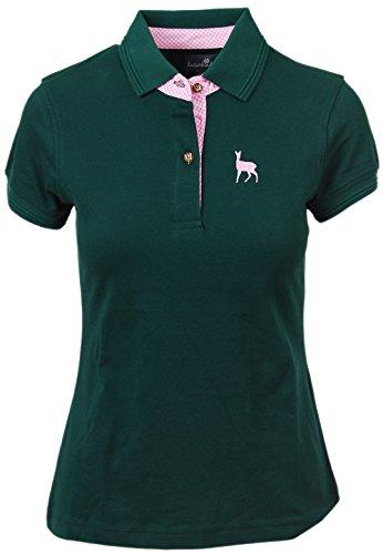 Trachtenpolo-Shirt Damen, Pique-Baumwolle und Elasthan, Polo-Shirt in tannen-grün, blau und grau mit Hirsch-Stick, alle Größen (M, Grün)