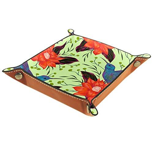YATELI Caja de Almacenamiento pequeña, Bandeja de Valet para Hombre,Pájaro de zumbido Flores Tropicales,Organizador de Cuero para Llaves de Caja de Monedas