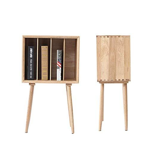 TANGIST Mesita de noche de madera para almacenamiento de revistas para sala de estar, sofá, lateral de roble blanco, mesa de esquina fácil de montar