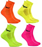 Rainbow Socks - Hombre Mujer Calcetines de Deporte Neon - 4 Pares - Naranja Verde Naranja Rosa - Talla UE 42-43