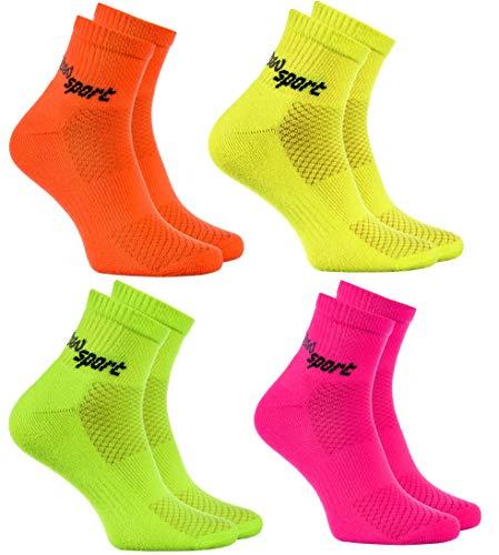 Rainbow Socks - Damen Herren Neon Sneaker Sportsocken - 4 Paar - Orange Grün Gelb Rosa - Größen 42-43
