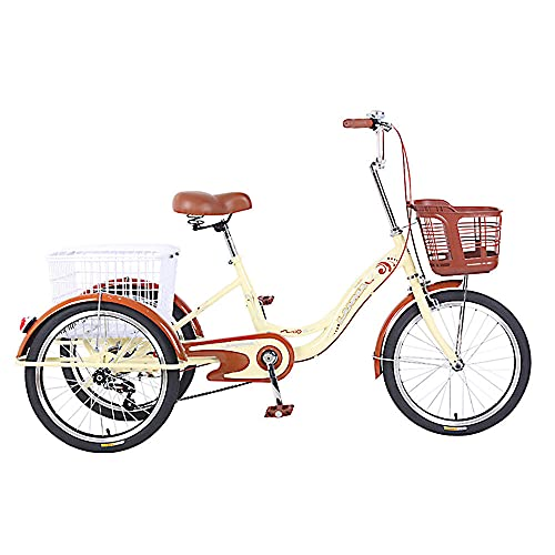 QQJL Adult 1 Speed ​​3 Wheels 20 Inch Tricycle Tricycle Tricycle Advanced Leisure with Shopping Cart Picnic Exercise Bicycle for Men and Women-Beige