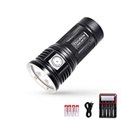 Latest Released Brightest - TN36 LIMITED max output of 11000 lumens with triple CREE XHP70B LEDs, powered by 4*IMR 18650 ( include),which is great for strong illumination with a throw of up to 386 yards. Infinite Brightness Adjusting - TN36 LIMITED a...