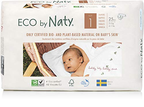 Eco by Naty, Talla 1, 4x25= 100 pañales, 2-5kg, suministro para UN MES, Pañal ecológico premium hecho a base de fibras vegetales.  0% plásticos derivados del petróleo en contacto con la piel.