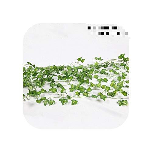 Trouek 12pcs 2M Green Artificial Ivy Leaf Garland Plants Vine Fake Foliage Flowers Bonsai Leaf Home Garden Wedding Party Decoration-Parthenocissus-12pcs