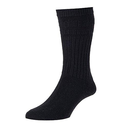 HJ Hall Herren Socken für den Alltag Socken, Einfarbig Gr. Large, Schwarz - Schwarz