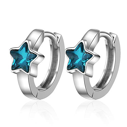 Oorbellen - Pendientes de aro, diseño de estrellas, color azul