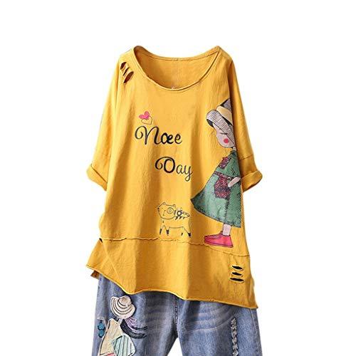 T-Shirt Leinen Bluse Damen Kurzarm Oversize Shirt Bedruckt Lose Oberteil Sommer Unterziehshirt aus Baumwolle & Leinen Kanpola